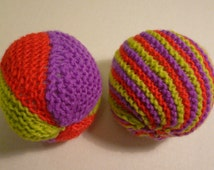 Two Handknitted Soft Stuffed Balls With Bells Inside, Activity Toys For Babie, Hand Knit Ball, Baby Gift Idea, Soft Ball, Indoor Ball