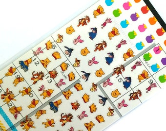 Disney Winnie the Pooh Planner Stickers Sheet // Japanese Honey Pot Tigger Eeyore Piglet Animal Clear Sticker Set..//