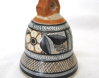 Miniature Tonala Mexico Pottery Bell Signed by Florentino Jimon Barba