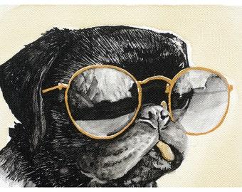 Pug in Aviators - Ink and Coffee Art Print