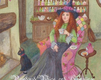 Witch and Black Cat Painting, Halloween Art, Witches' Brew, Watercolour Print