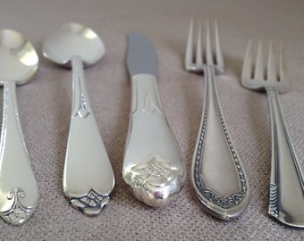 Vintage Mismatched Flatware,Five (5) Piece Place Setting,Antique Silver Plate,Silverware,Mixed Patterns,Wedding,Bridal,Shower,Rediscovered