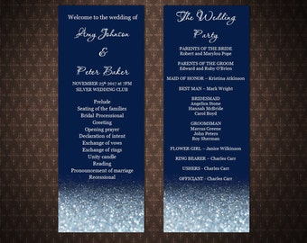 Navy and Silver Glitter Sparkles, Silver and Navy DIY Printable Wedding Program, Instant download, Editable wedding program, code-034