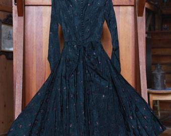 Vintage Raw Silk Patterned Black Tea Length Dress with Magenta Flowers. Label: La MAISONETTE, Newbury Street, Boston