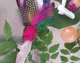 Smudge Fan Purple, Blue, Green, Yellow & Pink!  FAIRY GARDEN