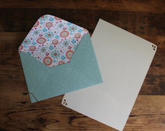 Birthday Writing Paper set, stationery set of 5, gift for her, present, letter writing, blue handmade lined 6x4 envelopes, colourful lining