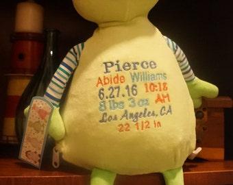 Personalized stuffed frog, Cubbie frog, stuffed animal