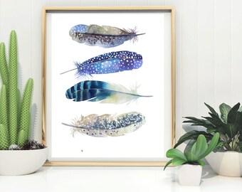 Feathers Print, Printable Feathers Art, Blue feathers art, Feather printable , digital download, feather Poster, digital print, boho print