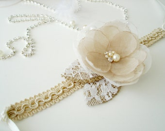 Champagne Wedding Corsage, Rustic  Bridal Flower Corsage, Wrist Corsages, Bridesmaid Gift