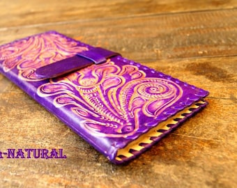 Leather Tract Folder JW Ministry // Flor - lila-natural