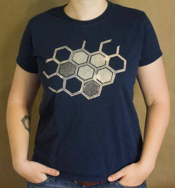 Honeycomb t shirt bleach design women 39 s shirt hexagon for How to bleach designs into shirts