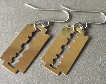 Brass Razor Blade Earrings