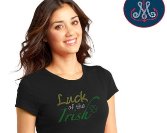 Luck of The Irish T,Rhinestone Luck of The Irish T, St. Patricks Day T, Luck of The Irish, St. Patricks Day Bling, St Patricks Transfer-HB01