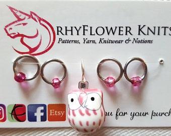Stitch Markers Set - Pink Owl