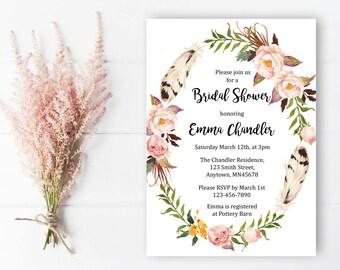 Floral Wreath Bridal Shower Invitation, Printable Floral Boho Bridal Shower Invite, Feathers Boho Bridal Shower Invite, Download, 112-W