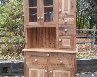 """Reclaimed Barn Wood Amish Built Hoosier Hutch Cabinet -  Pine Wood  - Unfinished- 42""""Wx18""""Dx78""""H"""