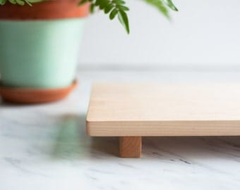 Footed Serving Board, Maple Wood Cutting Board, Footed Cutting Board, Wood Plate, Footed Wood Tray - FREE CARE KIT