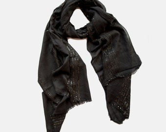Black Cotton Shawl With Golden Sequins. Summer Sale. Big Size Black Cotton Scarf. Gift scarf. Festive scarf.