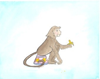 Circus monkey watercolor nursery art