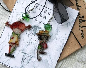 Pippi Longstocking Earrings, orecchini, pippi calze lunghe Bijoux da Favola, Fairy Jewellery