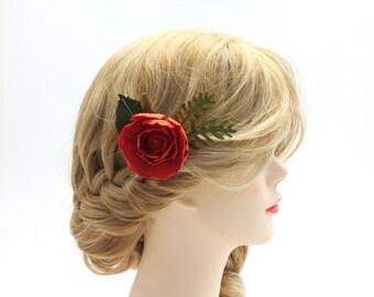 Small single flower hair comb - paper flower hair comb - Bridesmaid Hair Flower