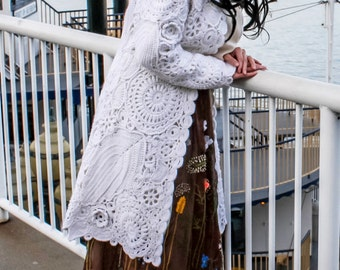 Warm Irish Crocheted Coat with Removable Satin Liner and Organza Collar