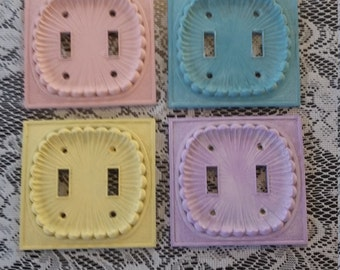 Vintage metal light switchplate covers pink teal yellow purple