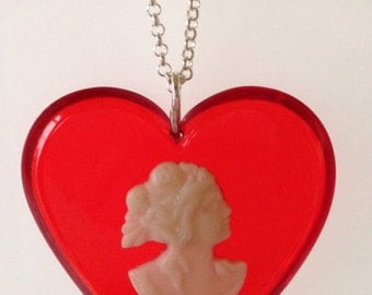 Vintage Red Heart Cameo Pendant-Vintage Lucite Necklace-Resin Jewelry