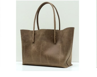 Shopper / great vintage - leather bag grey