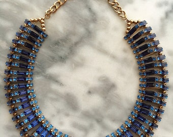 BLUE CRYSTAL COLLAR Bib Necklace