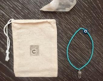 Turquoise Evil Eye and Crystal Bracelet