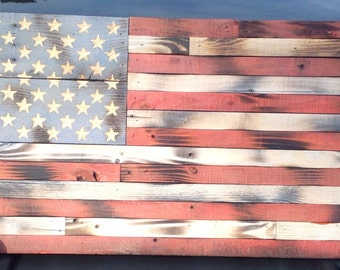"""Wooden American Flag Reclaimed Wood Burned Distressed Hand Carved Stars Red White Blue 13"""" x 25"""""""