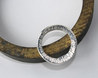 Chunky hammered silver tree bark ring size N/ladies silver ring/ thick silver ring/UK seller/AH Jewellery/forged ring/