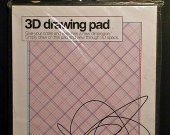 3D Drawing Pad - A Two Create Producrt - Worldwide Co. - UK Import - includes 50 sheets of 3D grid paper and 3D glasses - East To Use - NEW