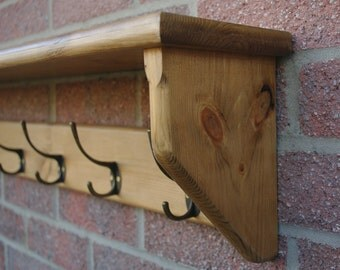 Hat and Coat Rack with Shelf & Cast Iron Hooks-Rustic Style - Handmade to Order - Various Lengths and Finishes