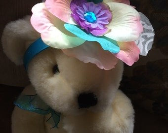 Multi Colored Silk Flower Teal Head Band Girls Easter