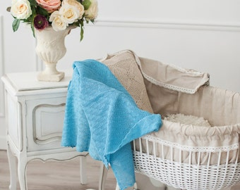 Knit baby blanket, Linen Baby blanket, Newborn blanket, Baby shower gift, Baby gift, Knitted blanket, Turquoise throw, EXPRESS SHIPPING