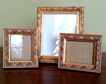 Small Vintage Frames Set 3 Gold Ornate Picture Frames Mismatched Table Top Frames Hollywood Regency Paris Apartment