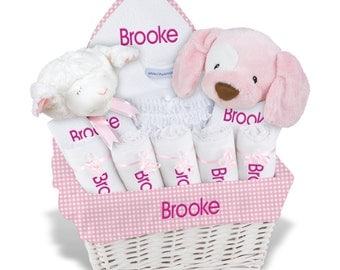 Personalized Baby Gift Basket, Baby Girl Gift Basket - 2 Bibs, 5 Burp Cloths, Towel Set, Onesie, Diaper Cover, 2 Plush - Large(H)