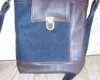 bag denim and leather, upcycling, clutch bag