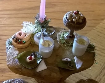 CUSTOM! Miniature Fairy Table (set for a meal), Fairy house, Fairy Garden