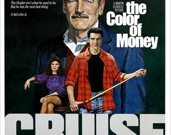 The Color Of Money Vintage Movie Poster Paul Newman & Tom Cruise Pool 24x36