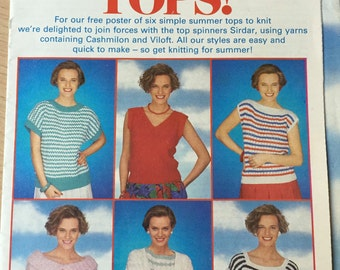 Sirdar Knitting Pattern, 6 Ladies Top Pattern, They're The Tops,  Womens Weekly Pattern, Sweater, Vintage Knitting Pattern, 34 36 38 40 42