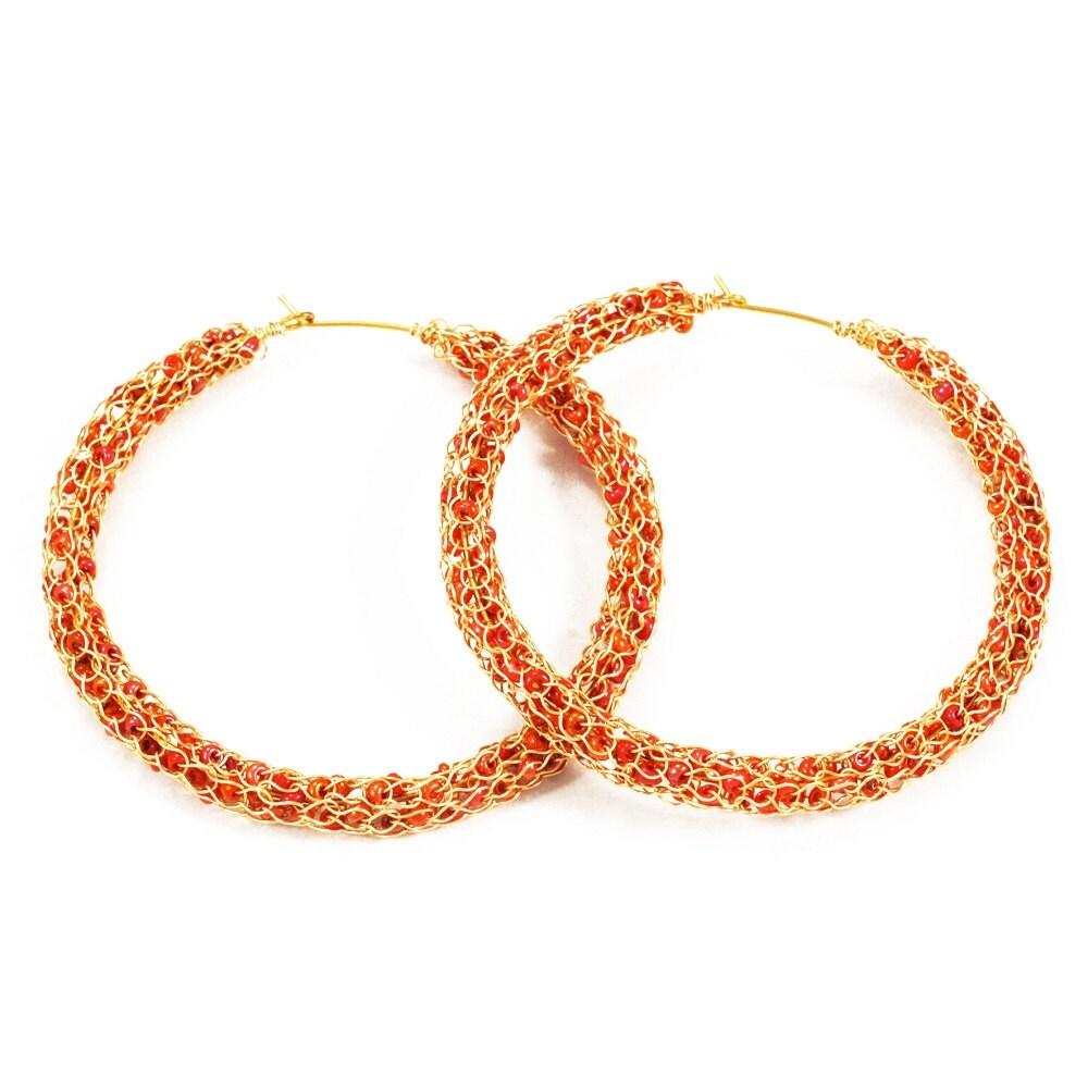 beaded hoop earrings crochet hoop earrings hoop earrings