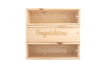 Wooden Wine Box (single) - Congrats #3