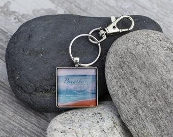Breathe Ocean painted Key Chain