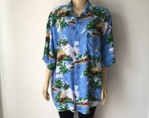 """Blue Hawaiian shirt Rayon tiki party  time palm trees colorful bright  island scene loose fit   extra large XXL chest 53"""""""