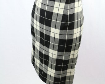 Vintage Black White Tartan Large Check Pencil Skirt Size S/M