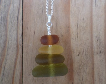 Olive, Amber, Lemon and Burnt Orange Stacked Sea Glass Necklace Pendant, Stack, Seaglass, Beach Glass Jewelry, Seaham, Beach Jewelry