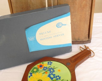 Vintage Floral Hardwood Cheese Board, Walnut Finished Tray, Cutting, Imperial International, Hard Carved, Wooden, Hostess Server for Parties